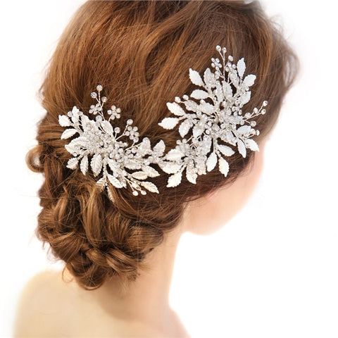 Crystal flower hair comb - Victobelle