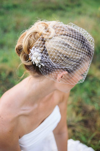 Simple and Classy Bridal Birdcage veil - Victobelle