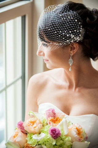 Birdcage veil with pearls - Victobelle