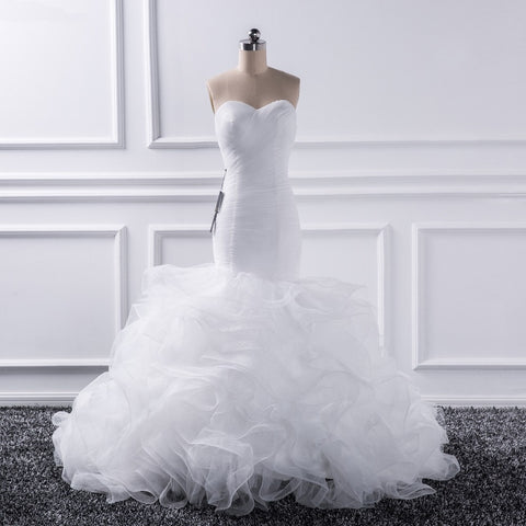 Mermaid sweetheart Tulle Ruffles Bridal  Gown - Victobelle