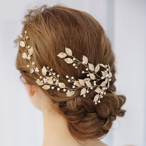 Gold Leaf Bridal Headdress - Victobelle