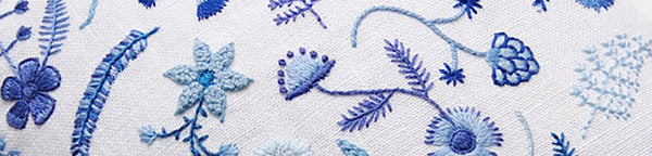 Hand Embroidered Blue and White Floral Pillow