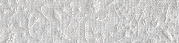Monochromatic Hand Embroidery - White Thread on White Linen Artwork, Pillows, and Objects