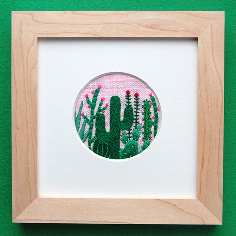 Happy Cactus Designs Hand Embroidered Artwork - Cactus Grouping on Pink Linen