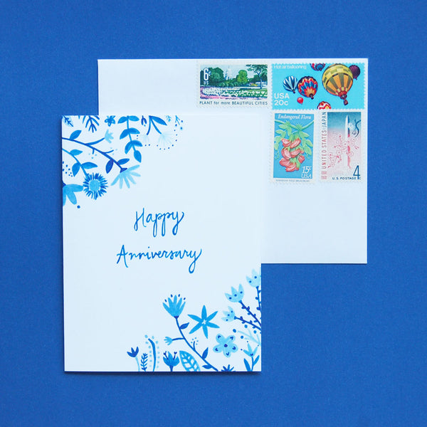 Happy Cactus Designs blue and white anniversary card