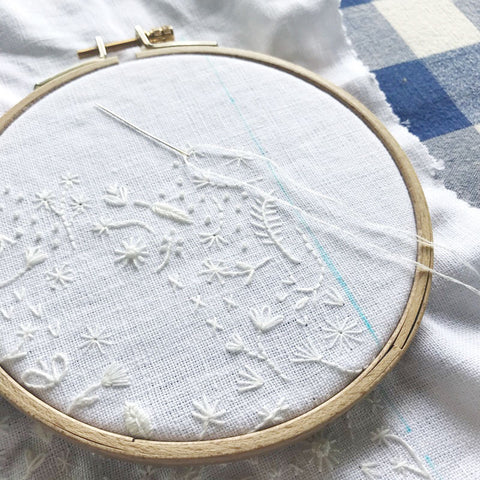 Monochromatic White Floral Embroidery by Happy Cactus Designs