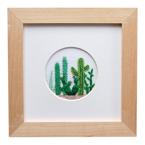 CACTUS GROUPING ON WHITE LINEN HAND EMBROIDERED ART by Happy Cactus Designs