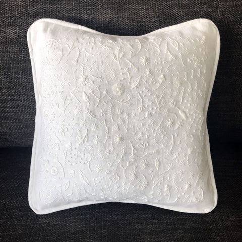 Hand Embroidered White Floral Pillow by Happy Cactus Designs