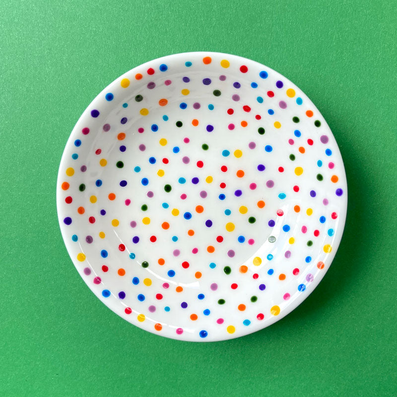 Rainbow Dot 10 - Hand Painted Porcelain Round Bowl