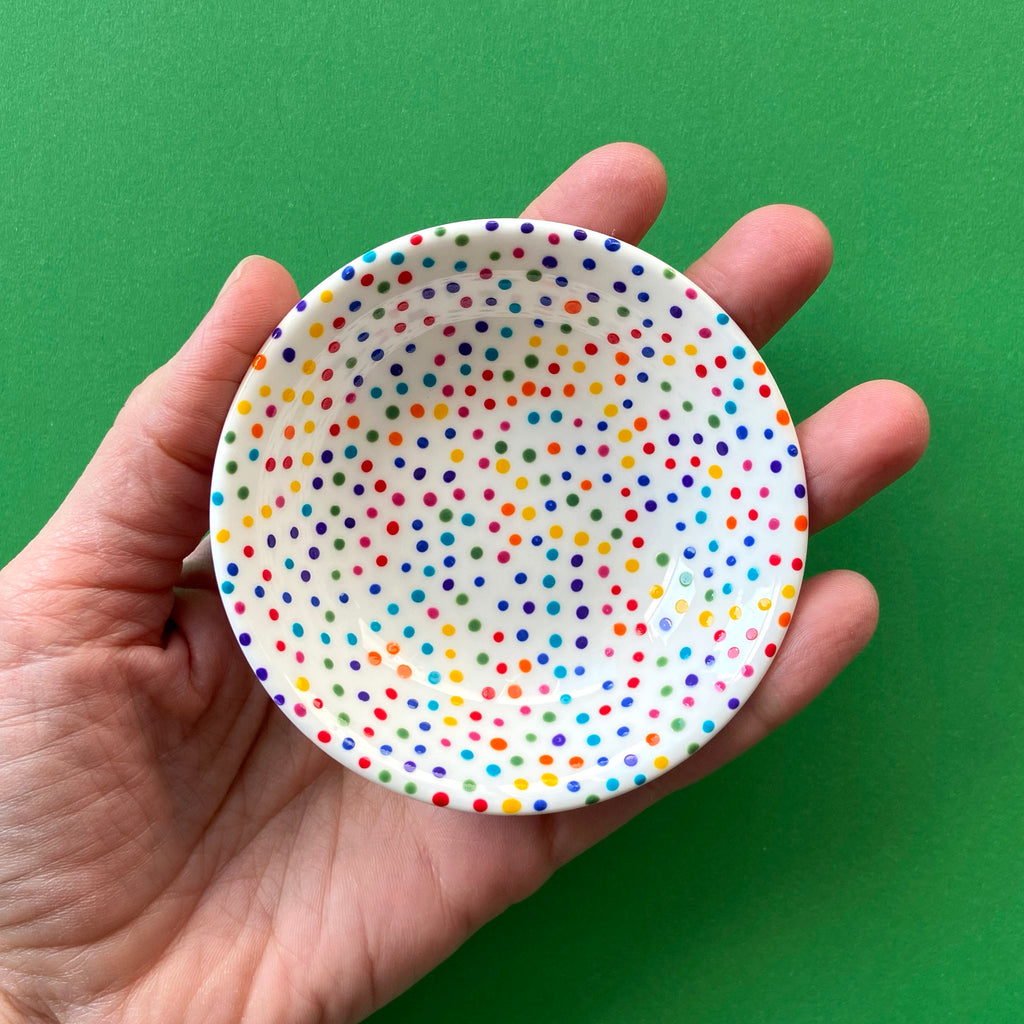 Rainbow Dot All Over 1 - Hand Painted Porcelain Round Bowl