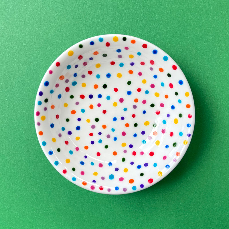 Rainbow Dot 11 - Hand Painted Porcelain Round Bowl