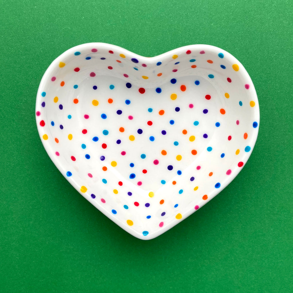 Rainbow Dot All Over 11 - Hand Painted Porcelain Heart Bowl