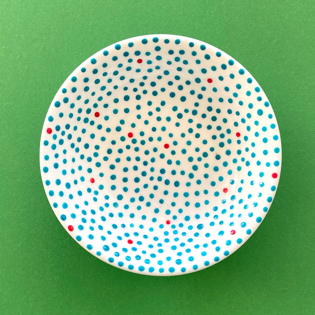 Turquoise Dots with Red 1 - Hand Painted Porcelain Round Bowl