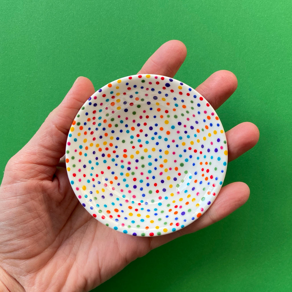 Rainbow Dot All Over 2 - Hand Painted Porcelain Round Bowl
