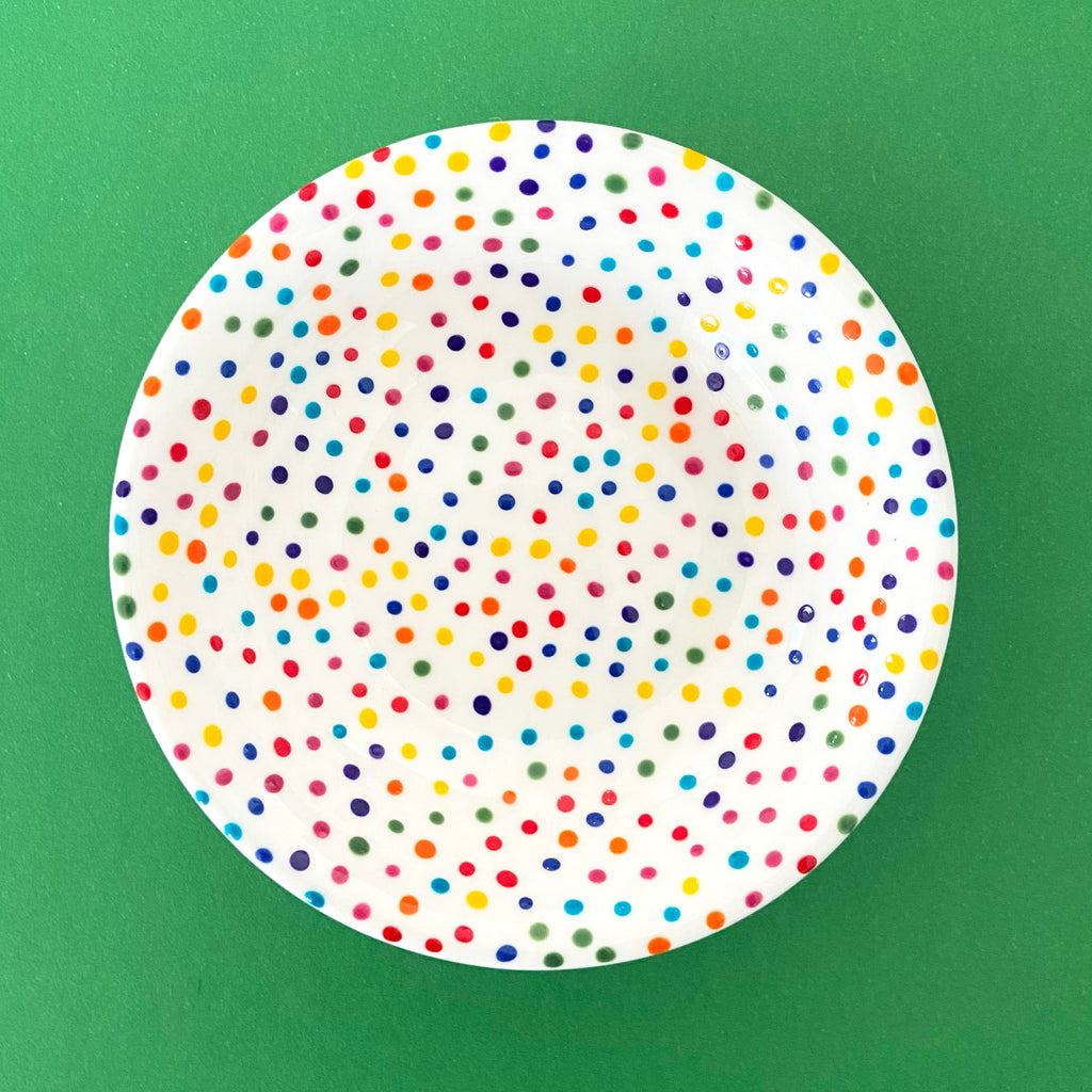 Rainbow Dot All Over 3 - Hand Painted Porcelain Round Bowl
