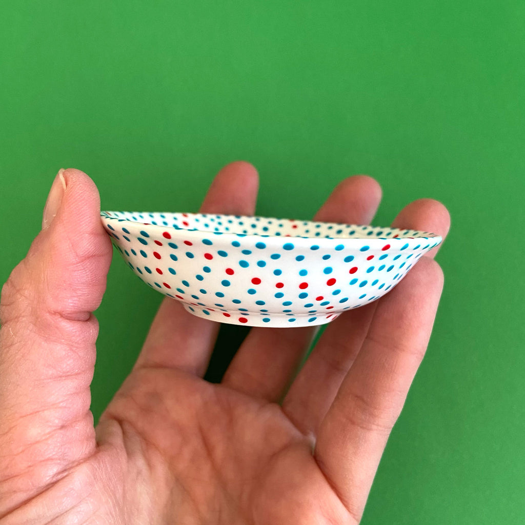 Turquoise Dots with Red 2 - Hand Painted Porcelain Round Bowl