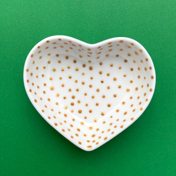 Gold Dot 13  - Hand Painted Porcelain Heart Bowl