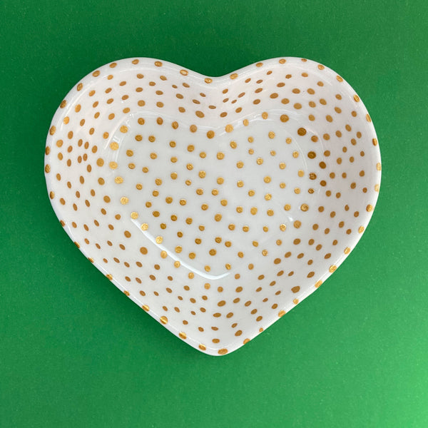 Gold Dot All Over 14  - Hand Painted Porcelain Heart Bowl