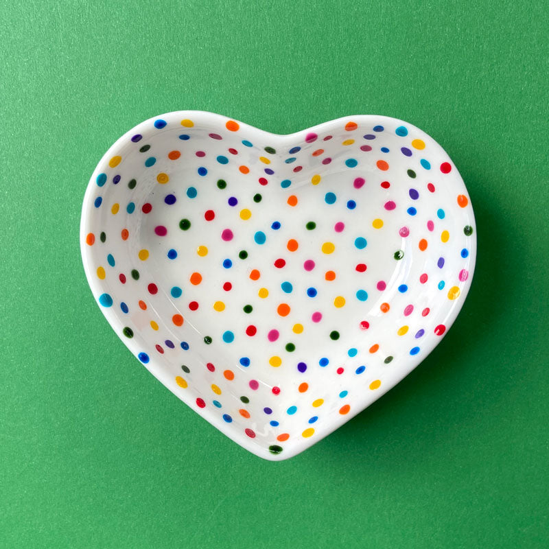 Rainbow Dot 14 - Hand Painted Porcelain Heart Bowl
