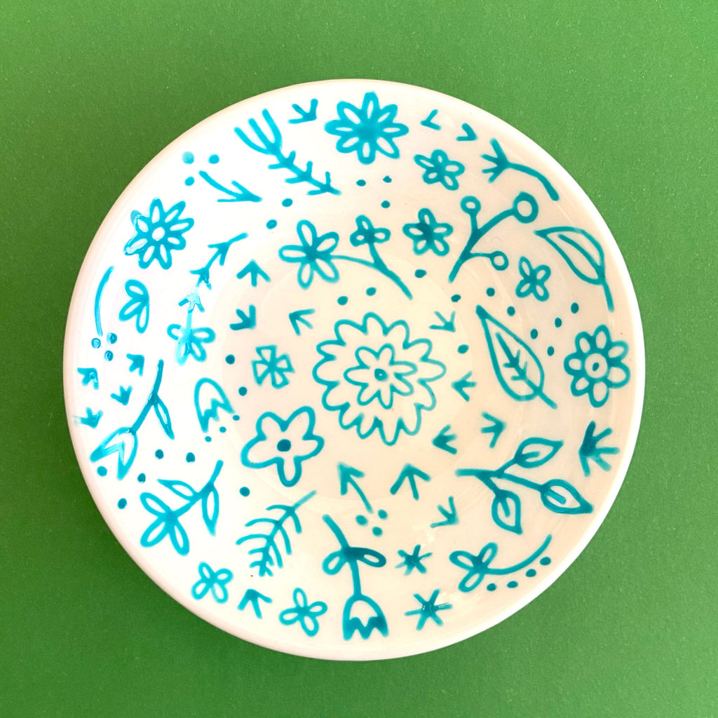 Turquoise Flowers - Hand Painted Porcelain Round Bowl