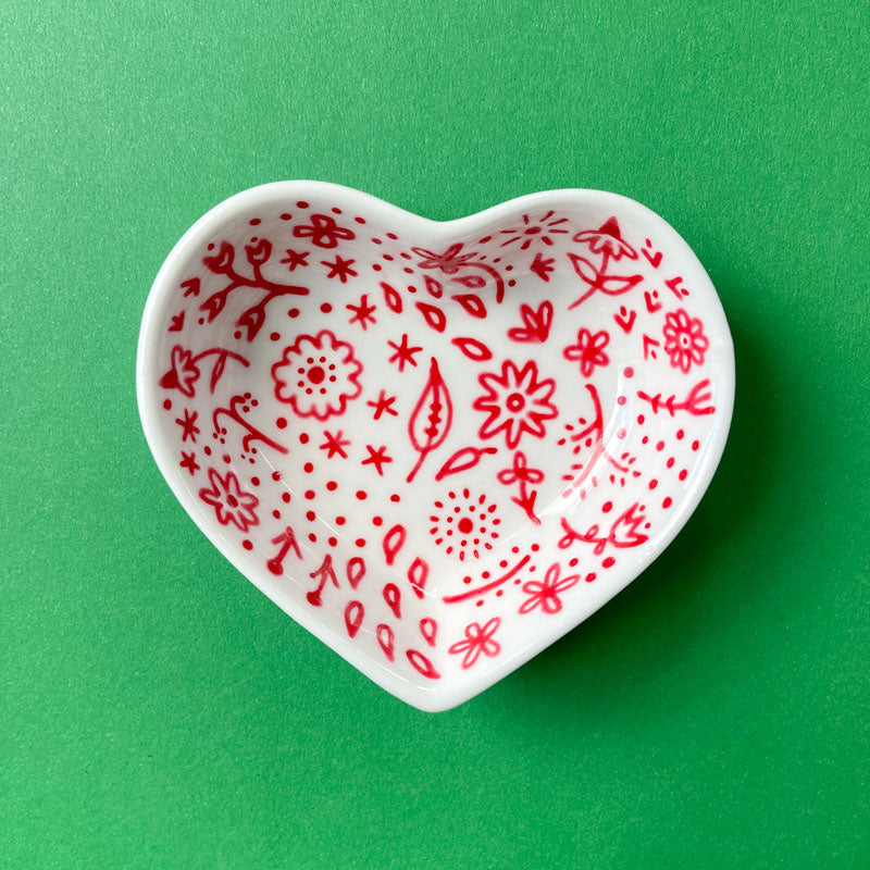 Red Floral 15 - Hand Painted Porcelain Heart Bowl
