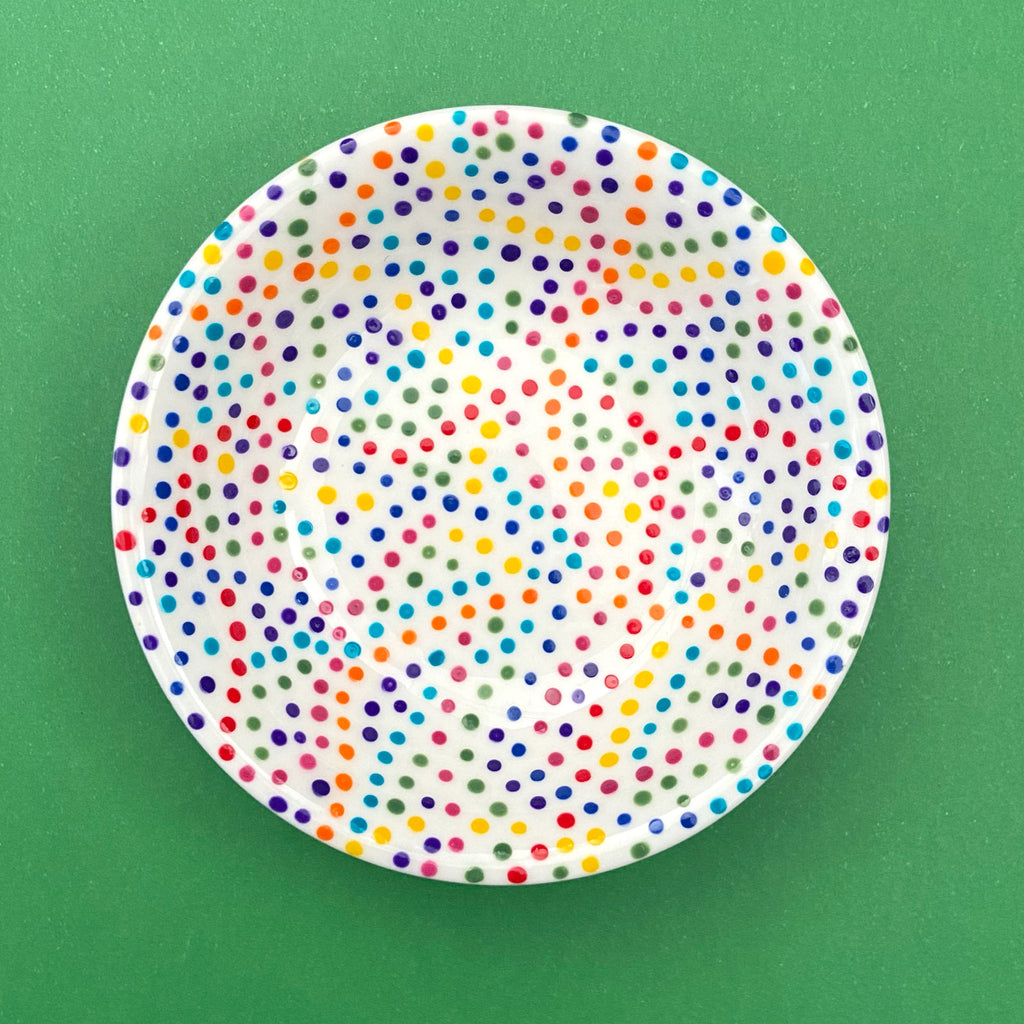 Rainbow Dots (All Over) 16 - Hand Painted Porcelain Round Bowl