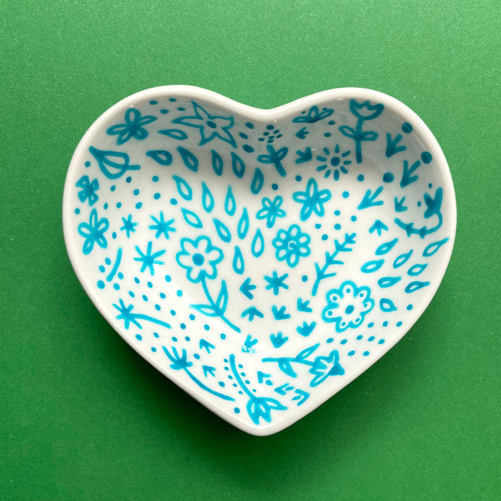 Turquoise Floral 16 - Hand Painted Porcelain Heart Bowl