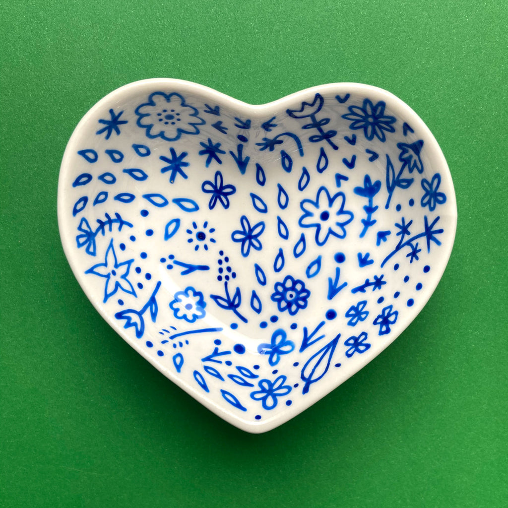 Blue Floral 17 - Hand Painted Porcelain Heart Bowl