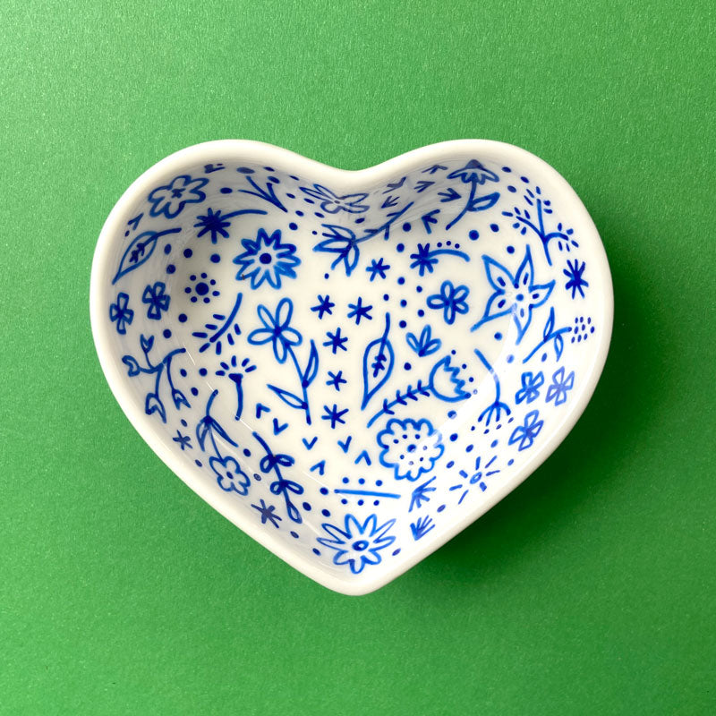Blue Floral 19 - Hand Painted Porcelain Heart Bowl