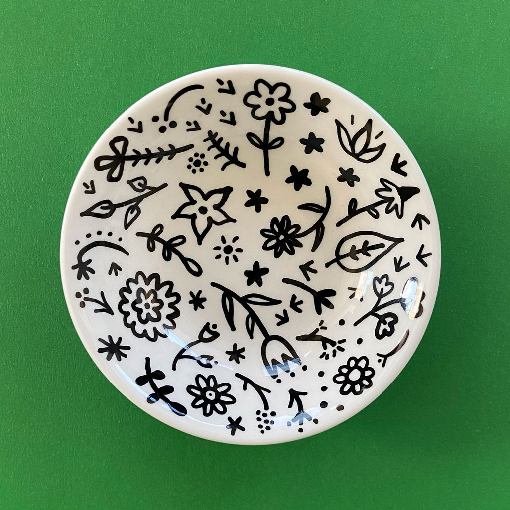 Black Floral Bowl - Hand Painted Porcelain Round Bowl