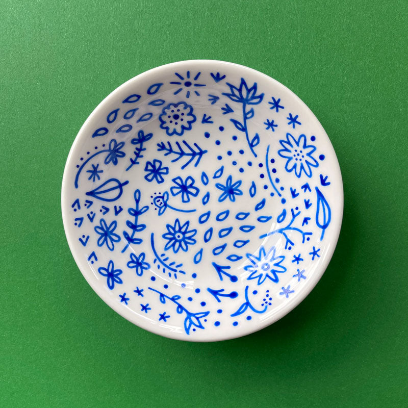 Blue Floral 1 - Hand Painted Porcelain Round Bowl