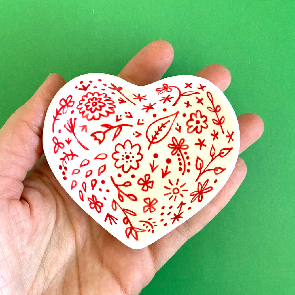 Red Floral - Hand Painted Porcelain Heart Bowl