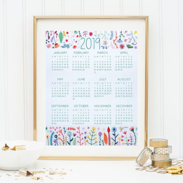 Limited Edition 2019 Wall Calendar featuring Hand Embroidered Rainbow Flowers