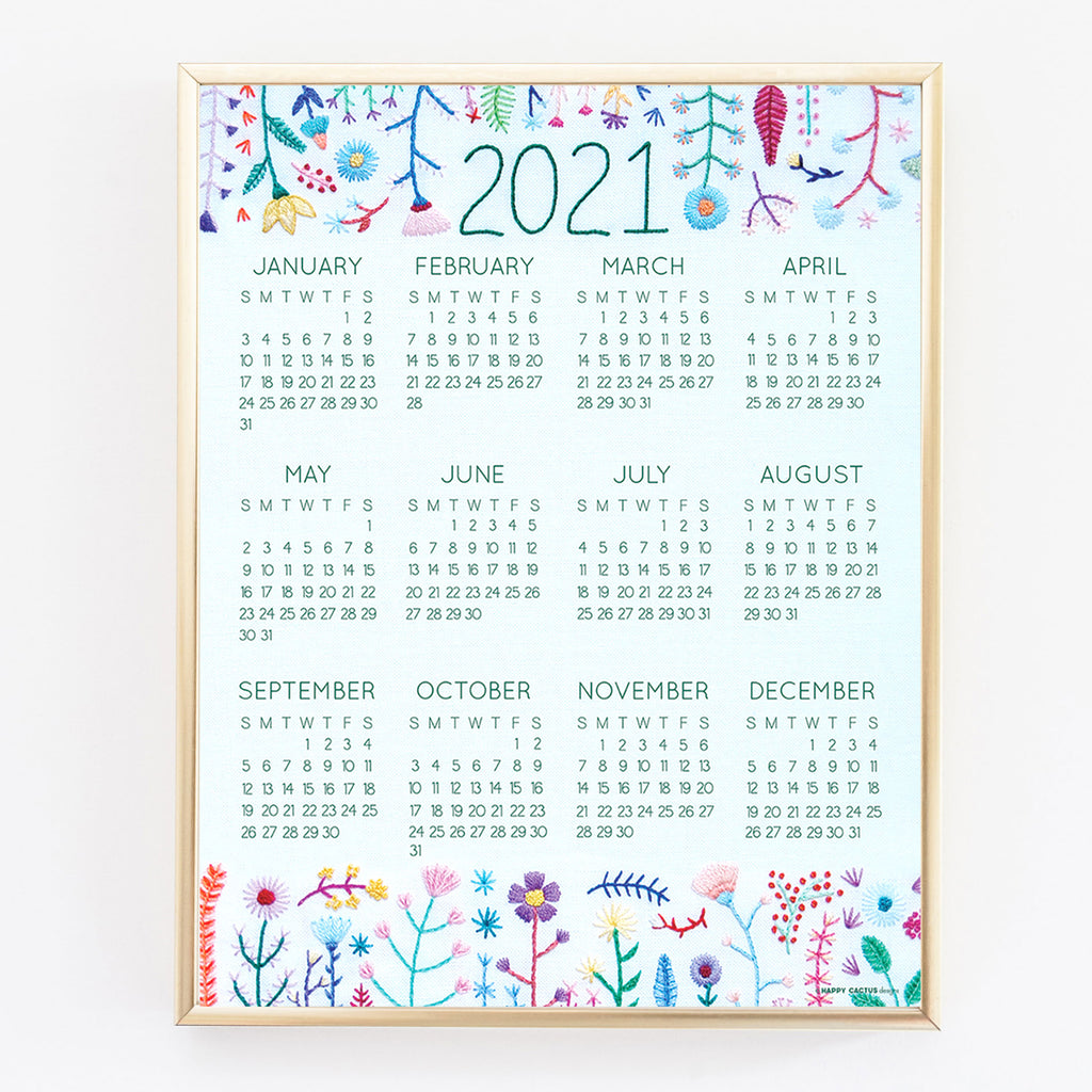 Happy Cactus Designs 2021 Wall Calendar Print • Design and Image Copyright Happy Cactus Designs LLC