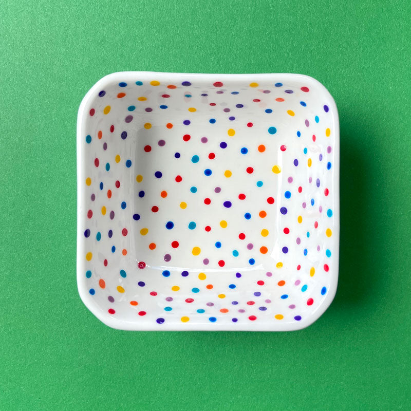 Rainbow Dot All Over 21 - Hand Painted Porcelain Square Bowl