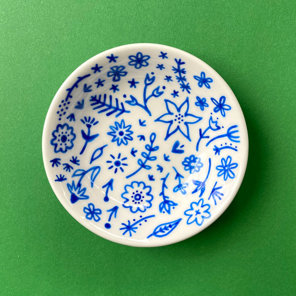 Blue Floral 23 - Hand Painted Porcelain Round Bowl