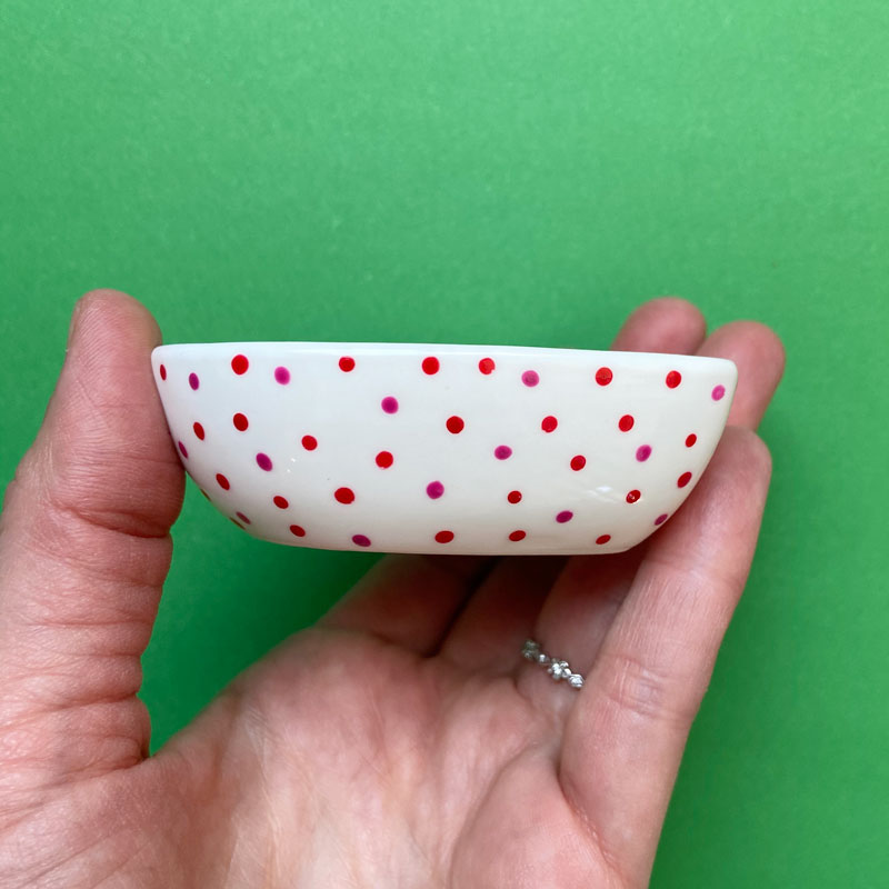 Red and Pink Dot All Over 25 - Hand Painted Porcelain Heart Bowl