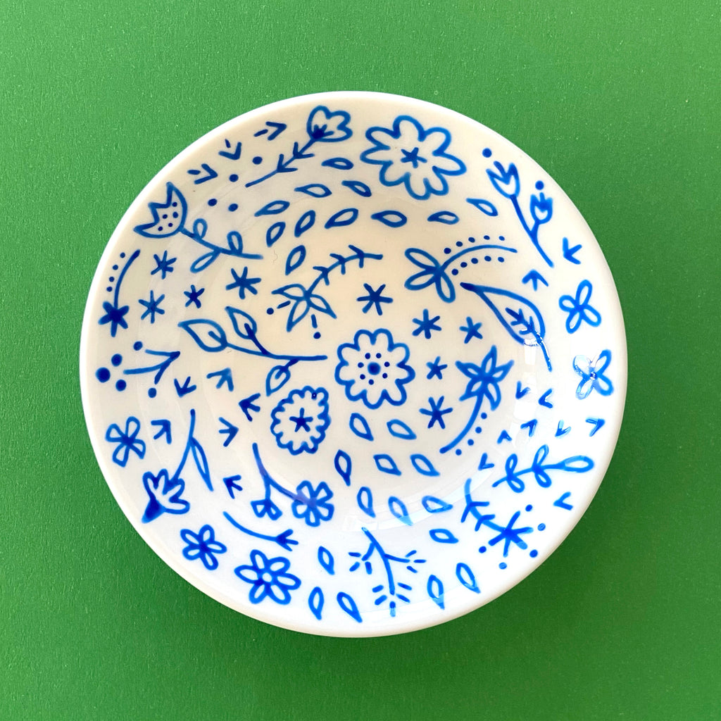 Blue Floral Bowl - Hand Painted Porcelain Round Bowl