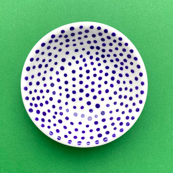 Dark Blue Dots 2 - Hand Painted Porcelain Round Bowl