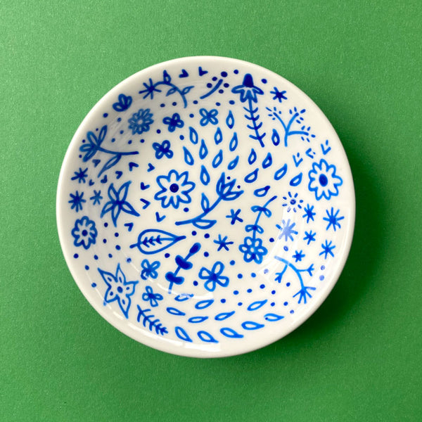 Blue Floral 2 - Hand Painted Porcelain Round Bowl