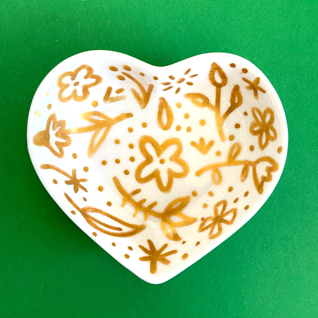 Gold Floral with Dots - Hand Painted Porcelain Heart Bowl