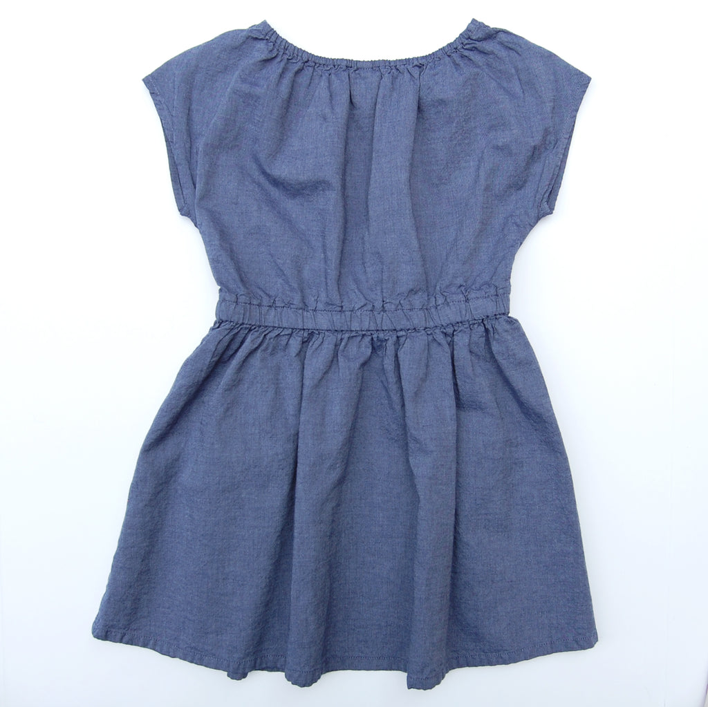 Girl's Embroidered Chambray Dress Rainbow Flowers (Size 3T-4T)