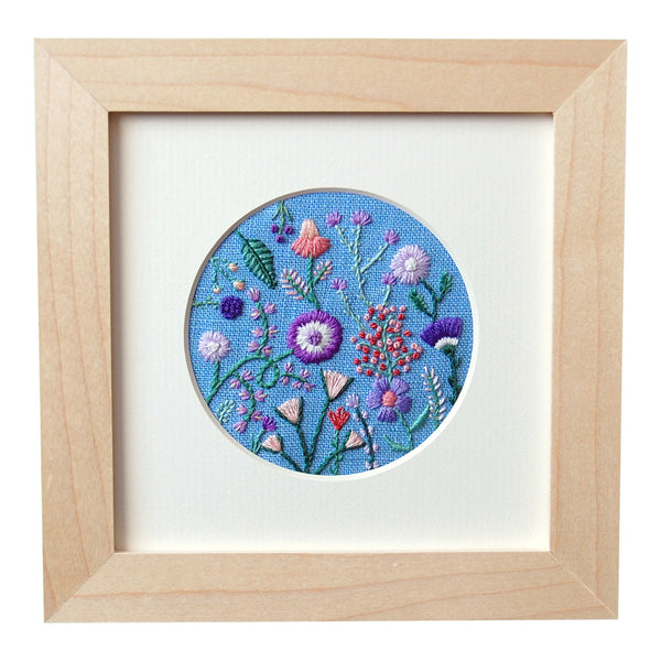 "Purple, Orange, and Pink Flowers (3"") on Light Blue Linen Hand Embroidered Art"