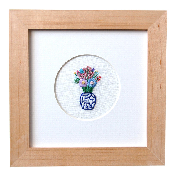 Flowers in a Blue and White Vase White Linen Hand Embroidered Art