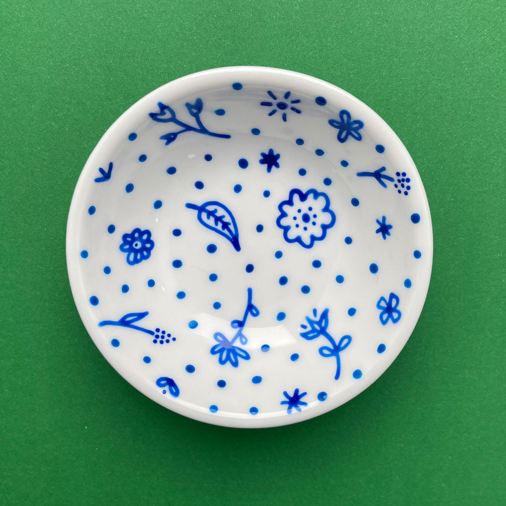 Blue Flowers and Dots All Over 3 - Hand Painted Porcelain Round Bowl