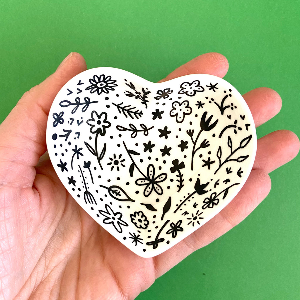 Black Floral - Hand Painted Porcelain Heart Bowl