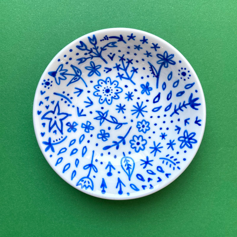 Blue Floral 4 - Hand Painted Porcelain Round Bowl