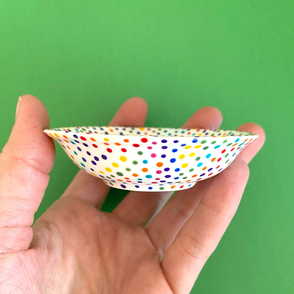 Rainbow Dots (All Over) 4 - Hand Painted Porcelain Round Bowl