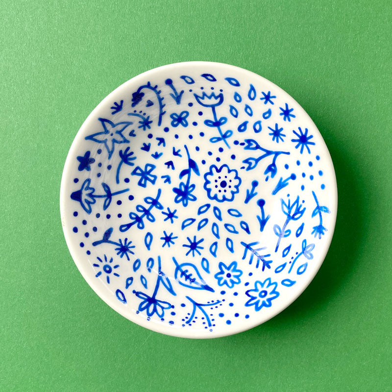 Blue Floral 5 - Hand Painted Porcelain Round Bowl