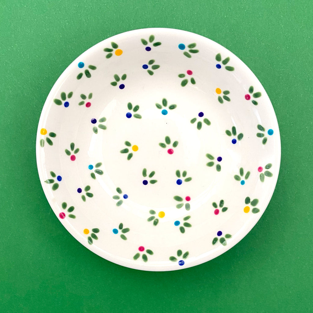 Little Flower Buds - Hand Painted Porcelain Round Bowl